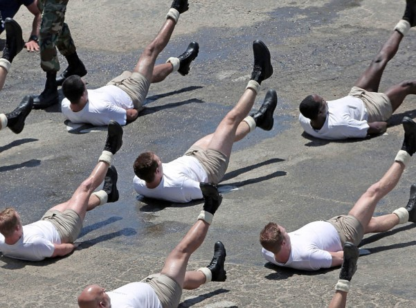 This was the warm-up... then the SEAL's got selected via competitive Burpees.