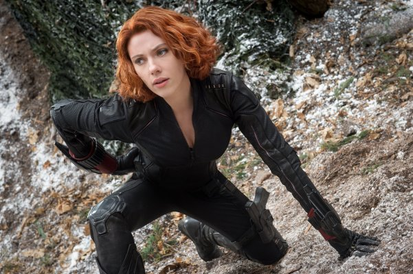 Black Widow, looking hotter that any motorbike chick has a right to look.
